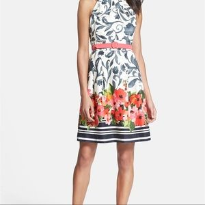 Eliza J Floral Stretch Cotton Fit and Flare Dress